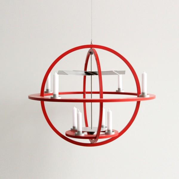 """Designer Pyramide """"Cosmos"""" zum aufhängen, aus massivem Holz, zur Dekoration für Weihnachten - Erzgebirgskunst aus dem Möbelhaus Tuffner Möbelgalerie Chemnitz, rot"""