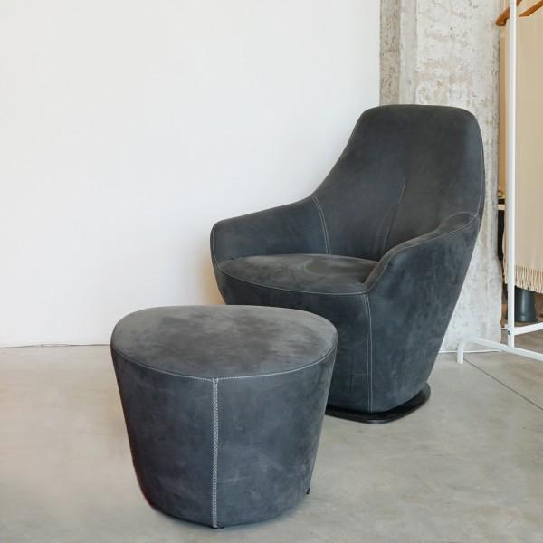 Designer Ledersessel und Hocker von Leolux, ein Entspannungssessel mit hoher Qualität